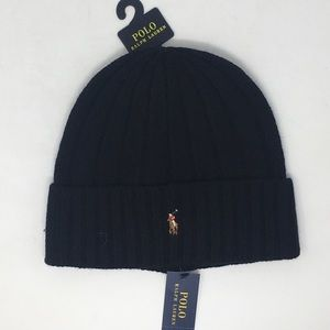 Ralph Lauren Polo Beanie Wool Hat Mens Black